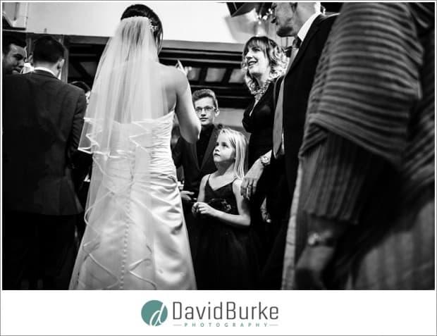 girl looking at bride