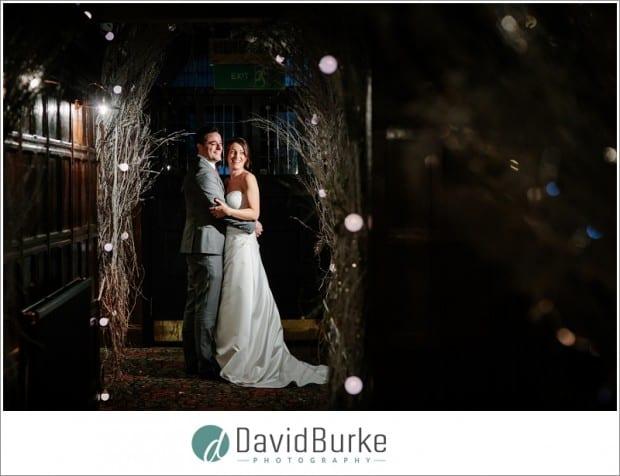 winter wedding bride and groom night