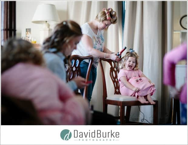 flowergirl having hair done