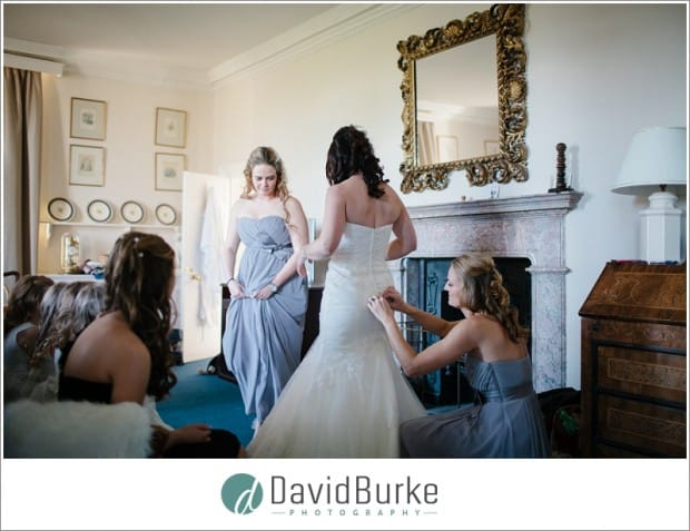 bride dessing at chilston park