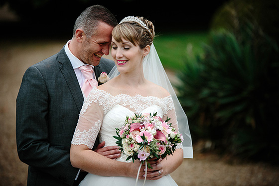 stunning bride and groom at their Oxonhoath wedding