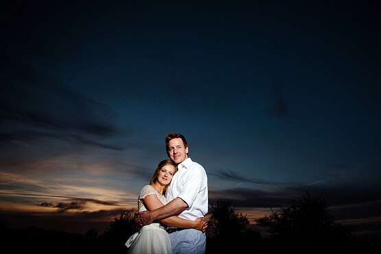 bride and groom against the sunset at wise wedding venue
