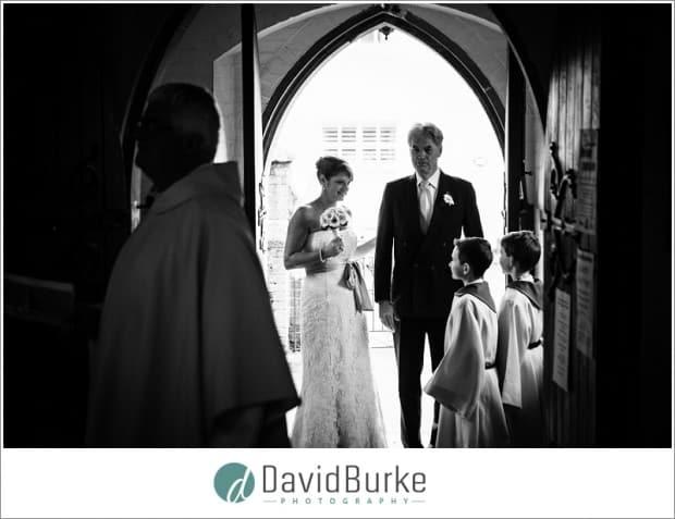 bride in church doorway