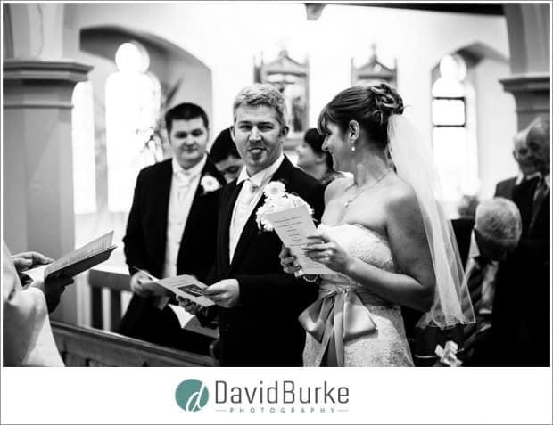 groom greeting bride