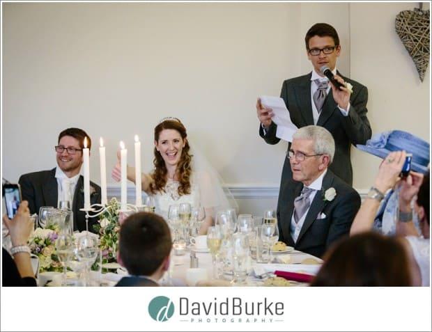 bride during best man speeches
