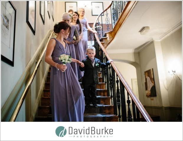 bridesmaids on stairs hotel du vin