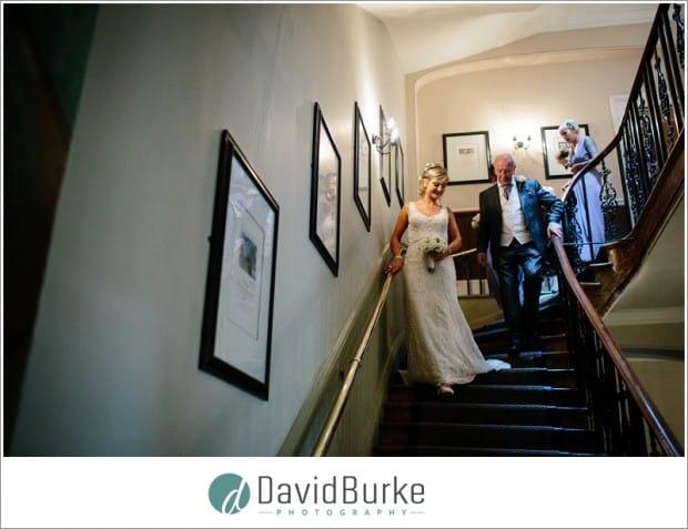 bride on stairs hotel du vin