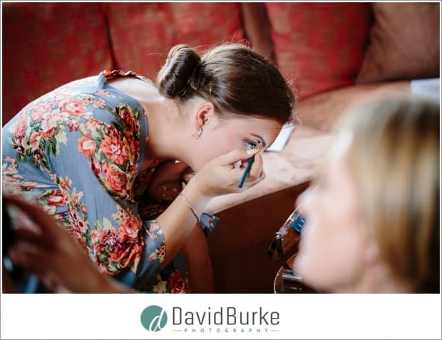 bridesmaid doing own makeup