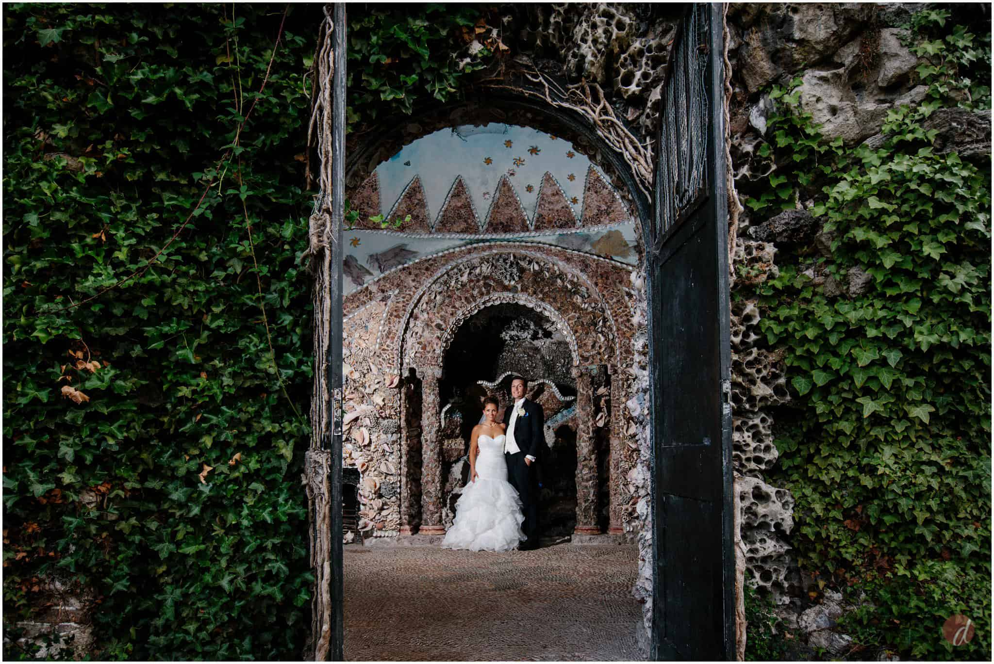 bride and groom in shell grotto