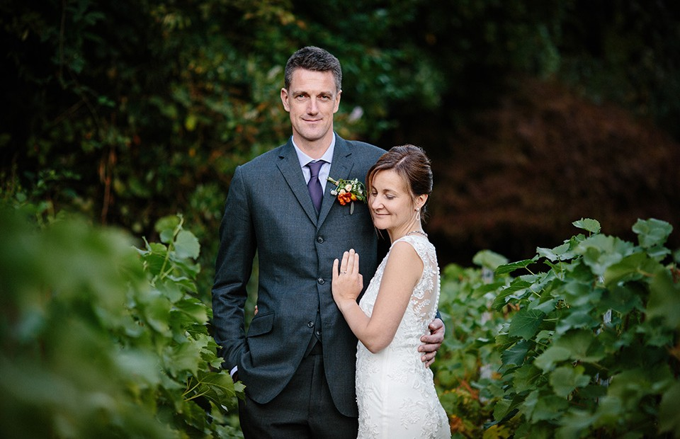 wedding couple in the vineyard at hotel du vin tunbridge wells