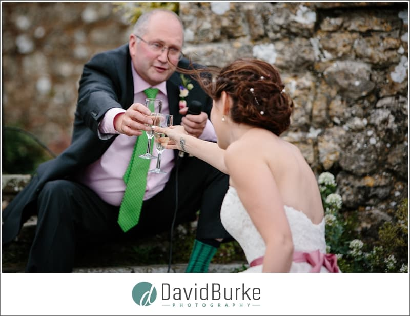 dad toasting daughter