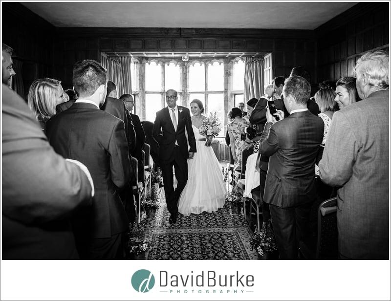 bride and groom exit lympne castle