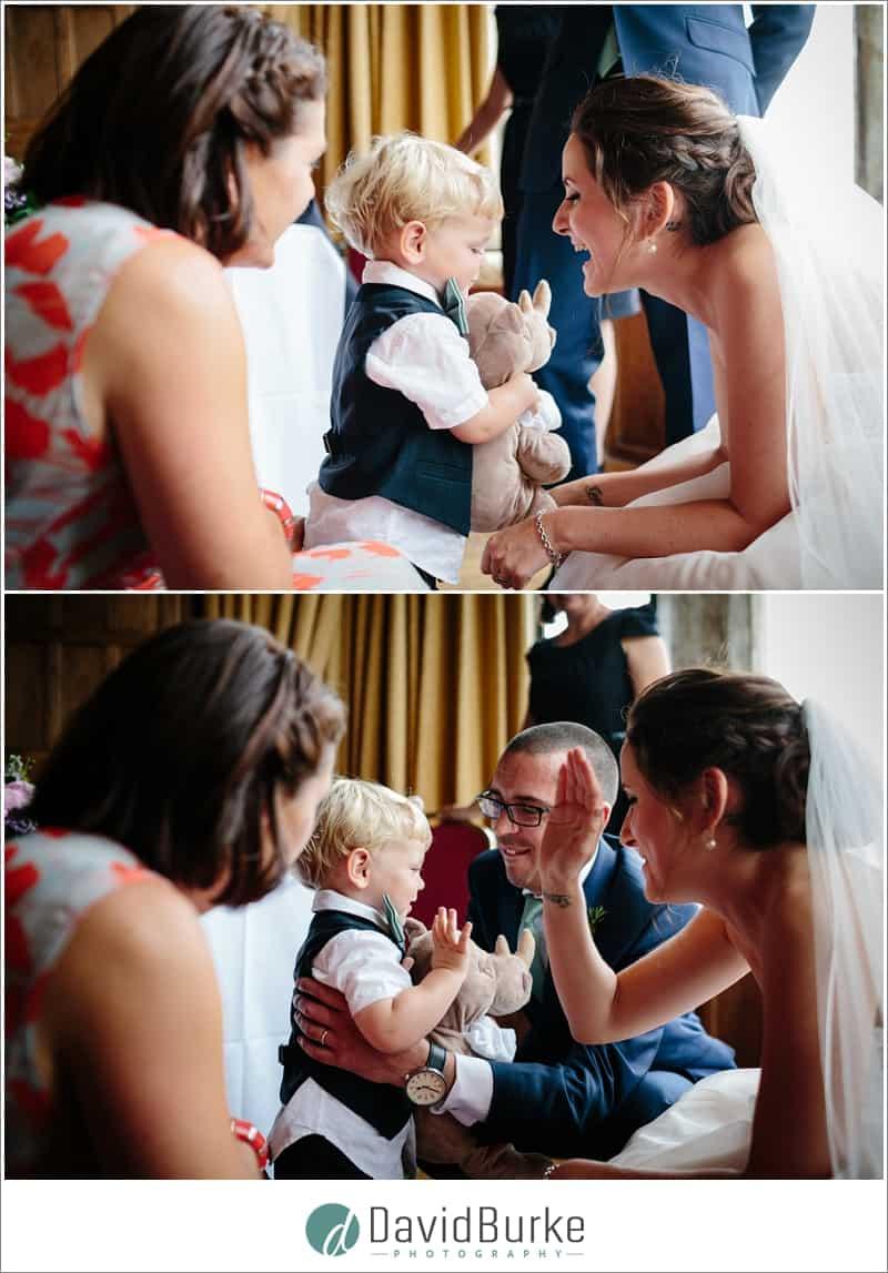 bride kissing little pageboy