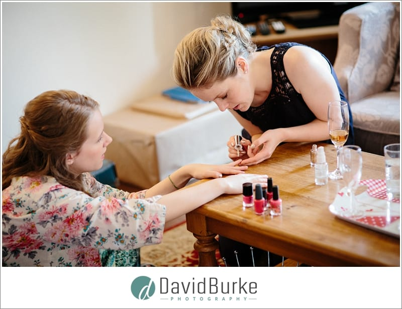 bridesmaids doing nails