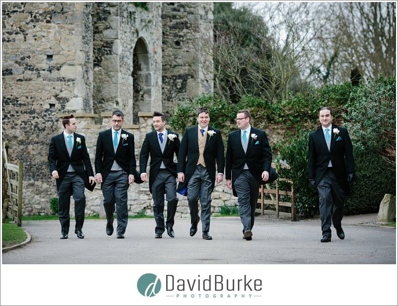 walking groomsmen cooling castle