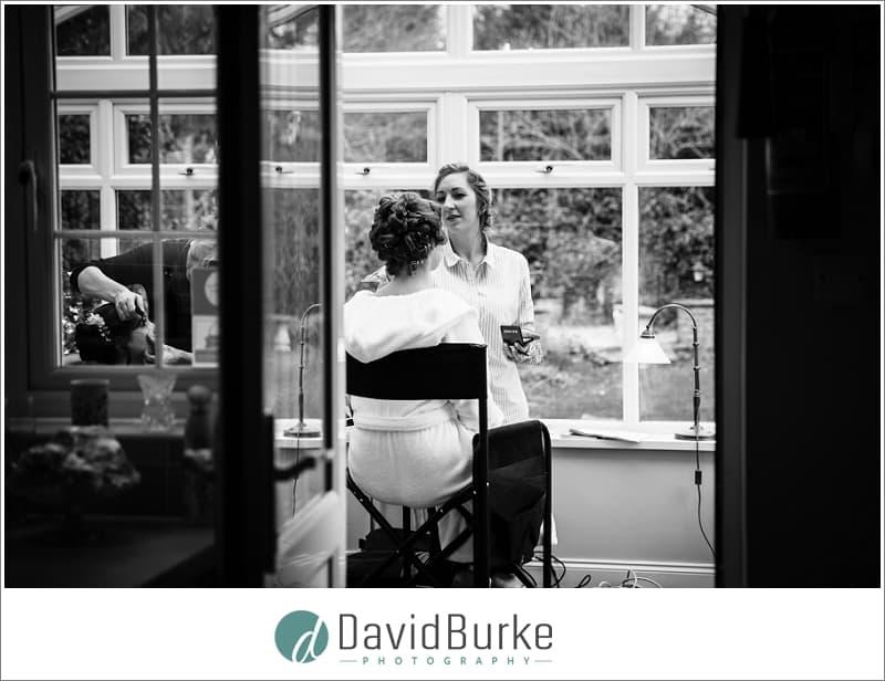 bride in makeup chair