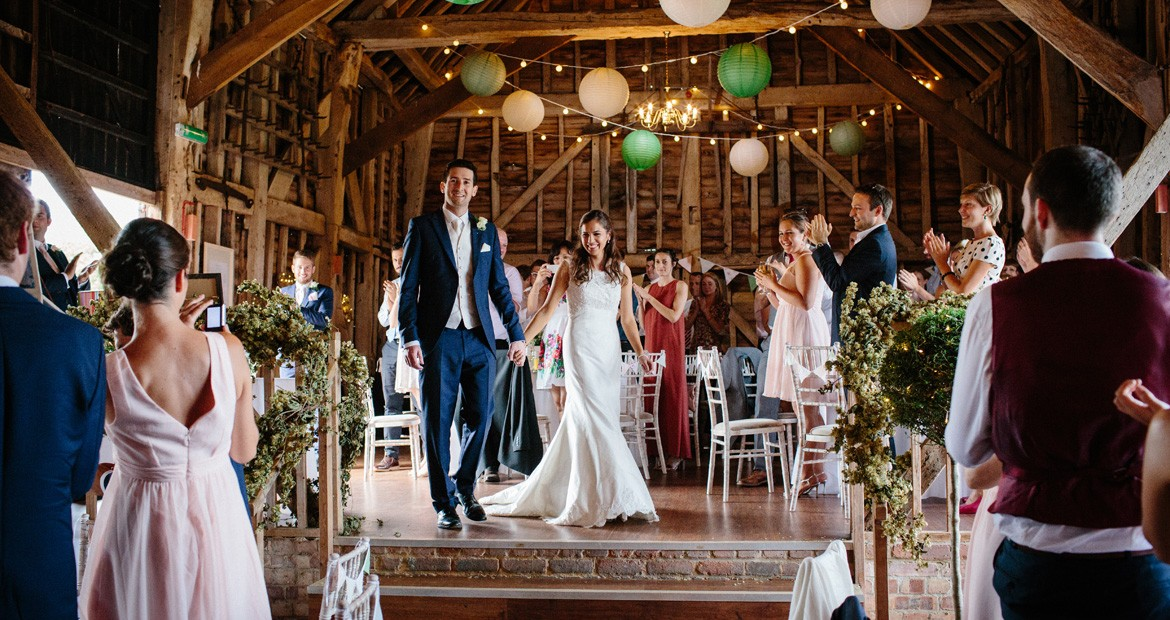 bride and groom at the great barn rolvenden