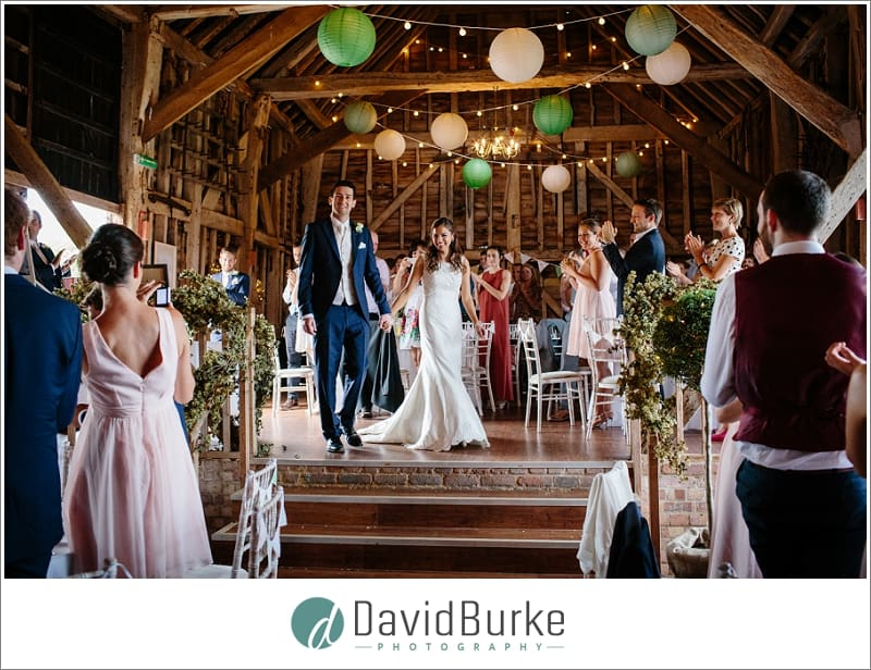 bride and groom entrance great barn rolvenden