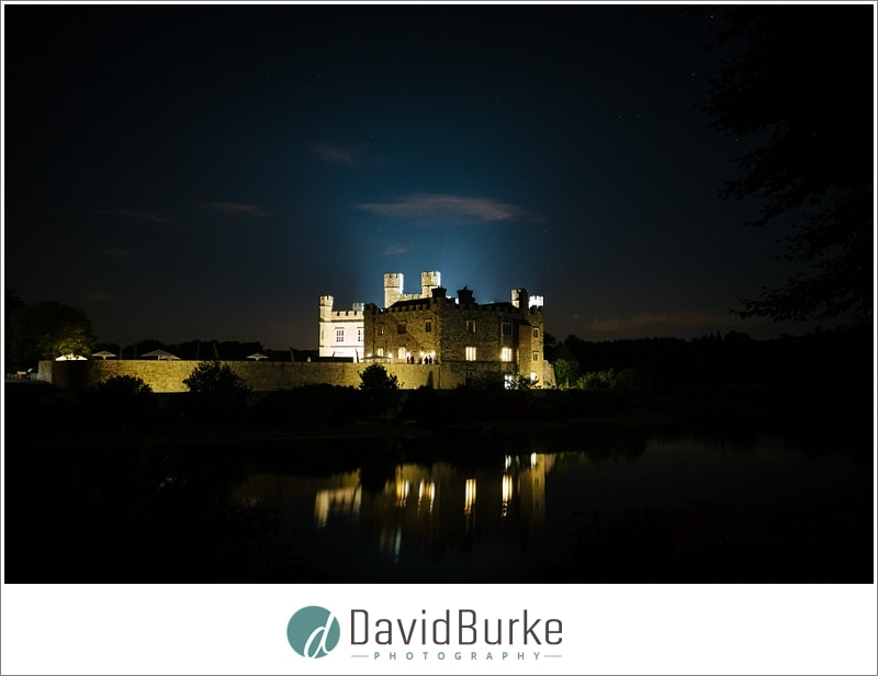 leeds castle lit up at night