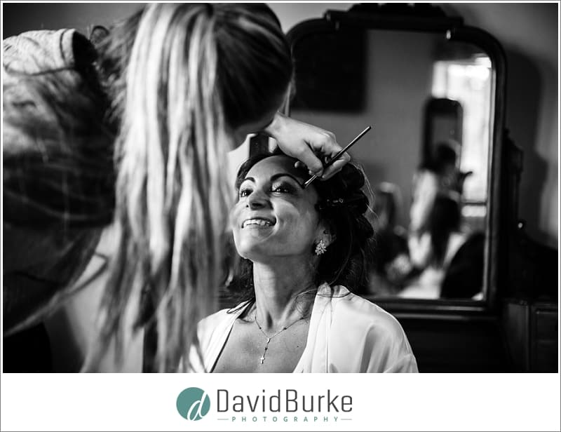 bride having makeup done leeds castle