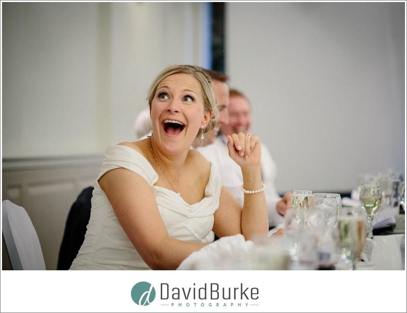 shocked bride during speeches