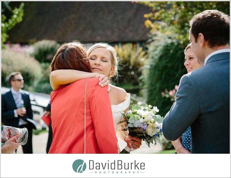 bride hugging friend