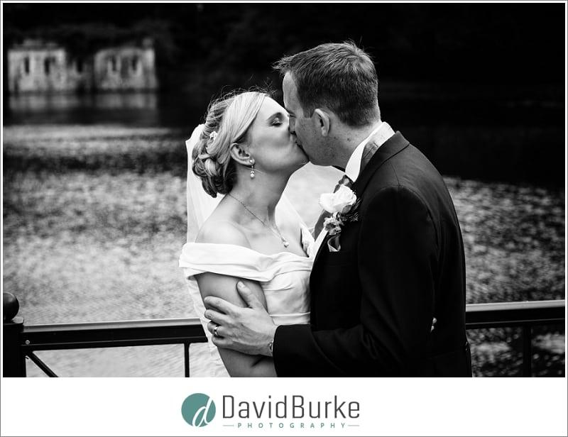 bride and groom on pontoon the orangery