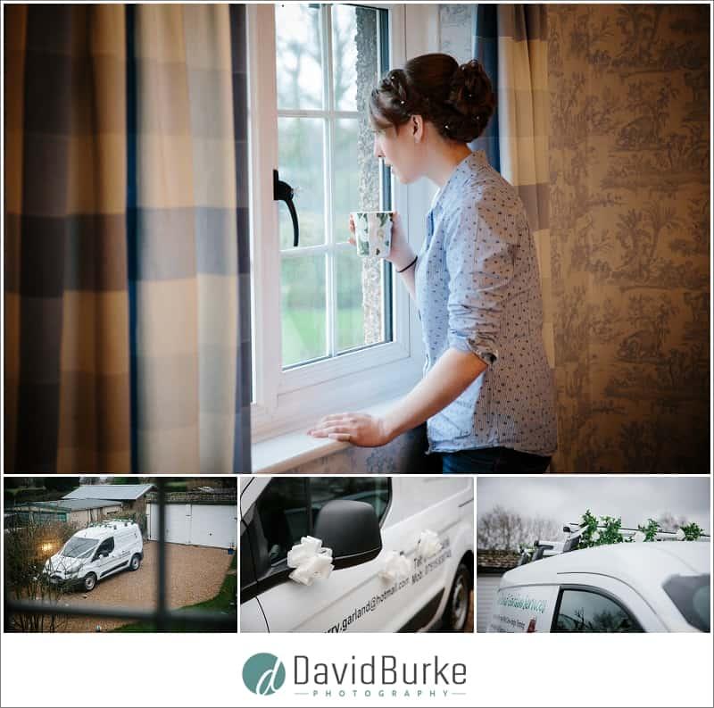 bride looking at dads decorated work van