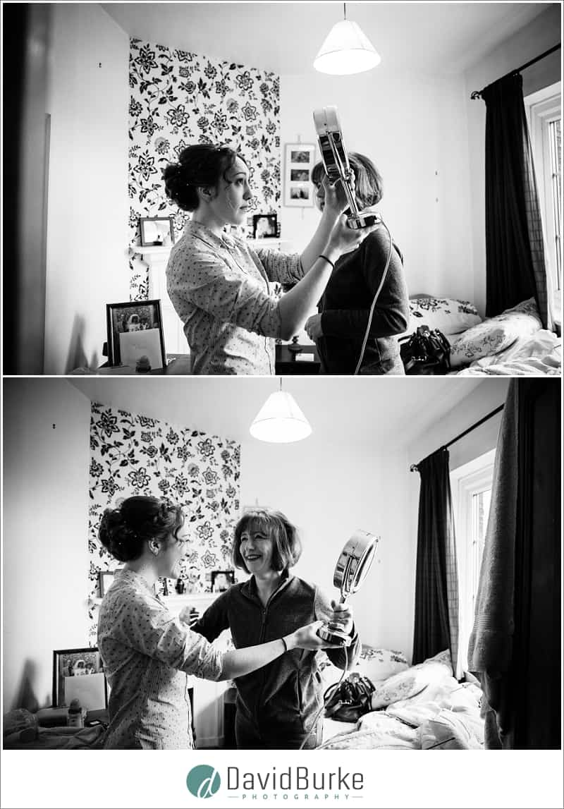 bride checking hair