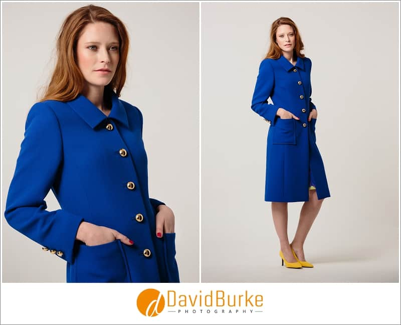 stewart parvin royal blue wool crepe coat