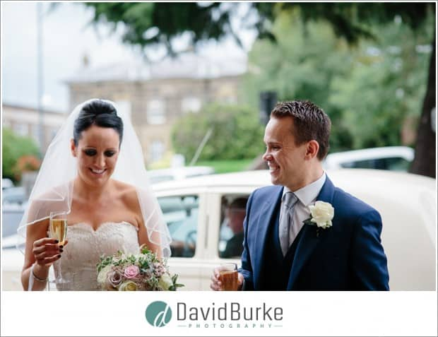 bride and groom in front of hotel du vin tunbridge wells