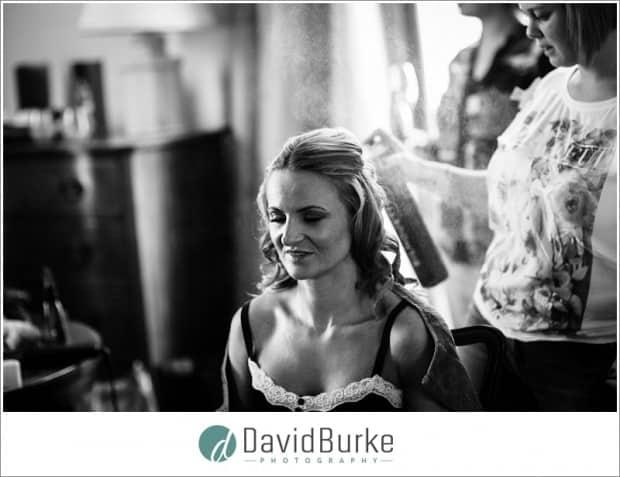 bridesmaid with hairspray