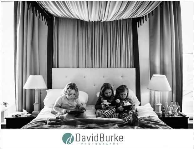 little bridesmaids playing on bed