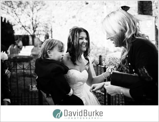 happy bride with son