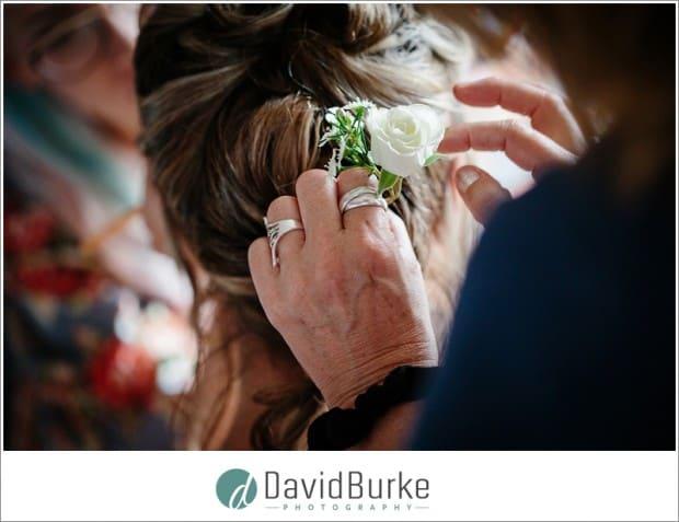 flower in brides hair
