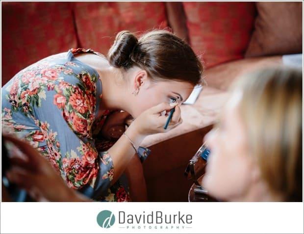 bridesmaid doing own makeup