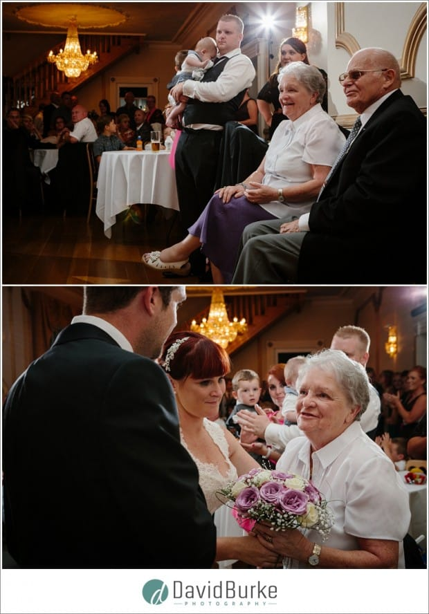 bride presenting flowers to granny