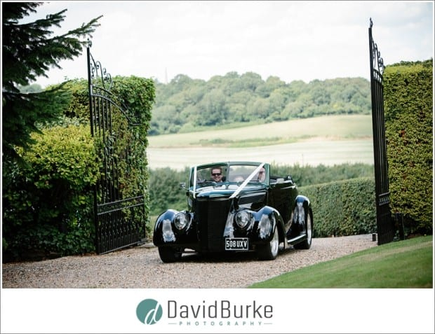 groom in custom car at little hermitage