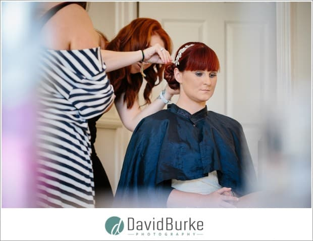bride having hair done