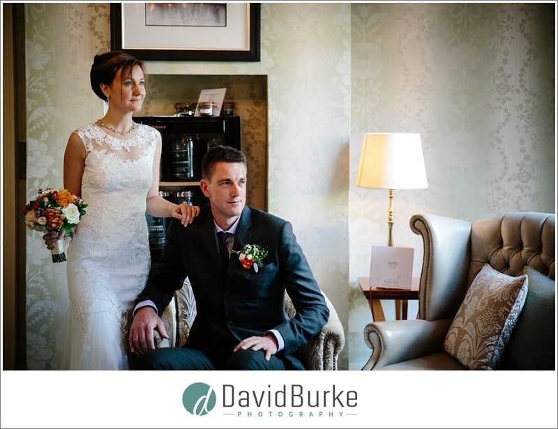 bride and groom in tea lounge