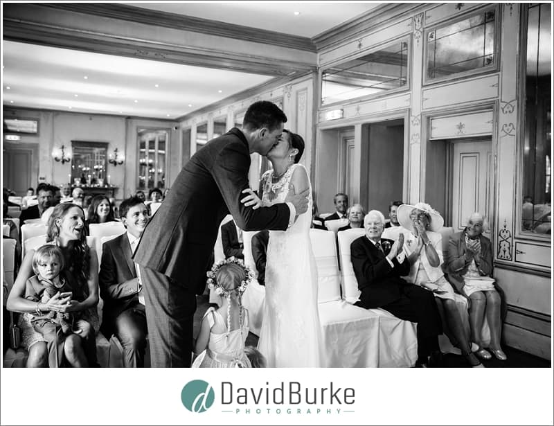 bride and groom first kiss hotel du vin tunbridge wells