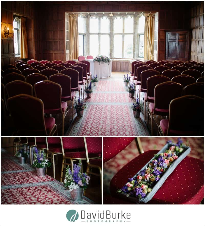 lympne castle ceremony room and flowers