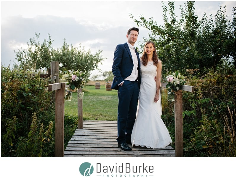 bride and groom at great barn rolvenden