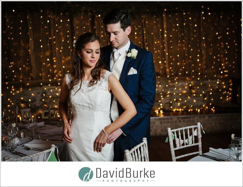 bride and groom great barn rolvenden inside