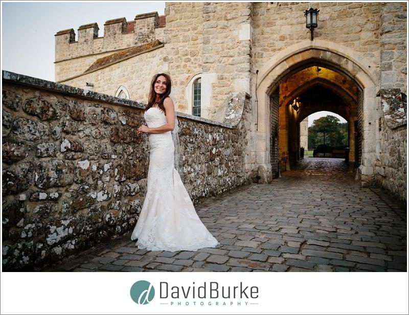 stunning bride on drawbridge leeds castle