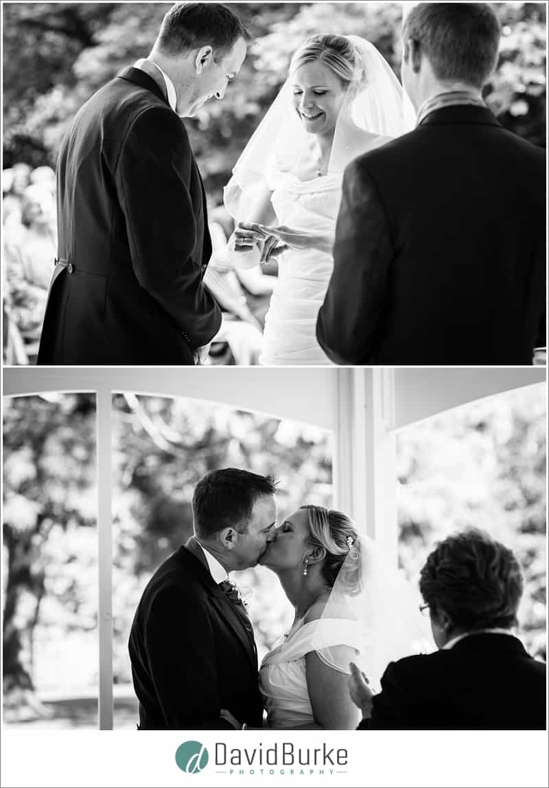 laughing bride during orangery ceremony