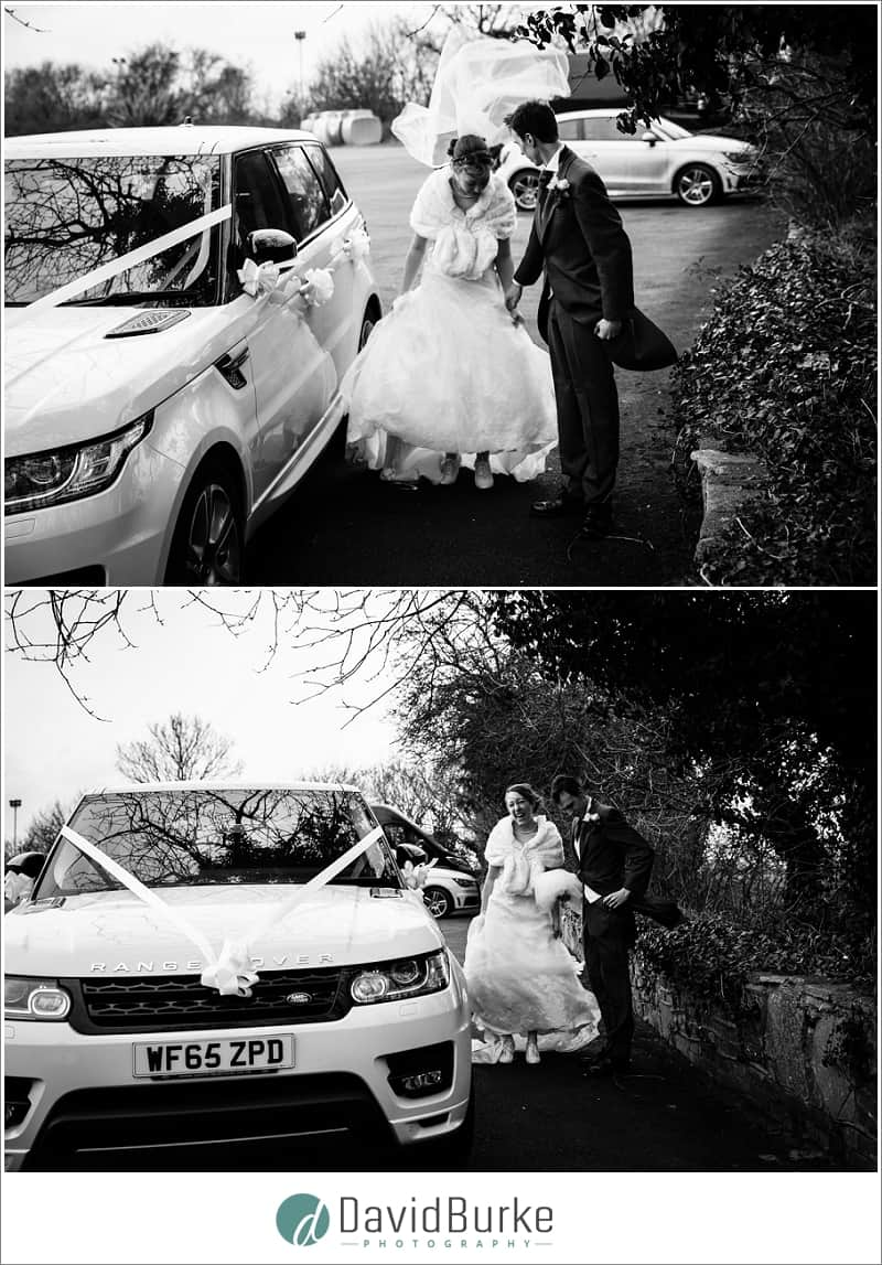 bride loses her veil at the plough leigh