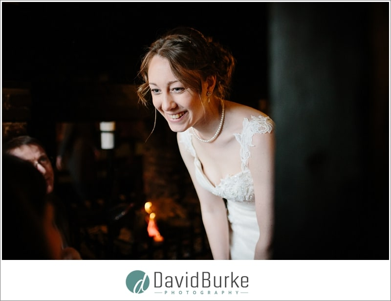 happy bride at the plough leigh