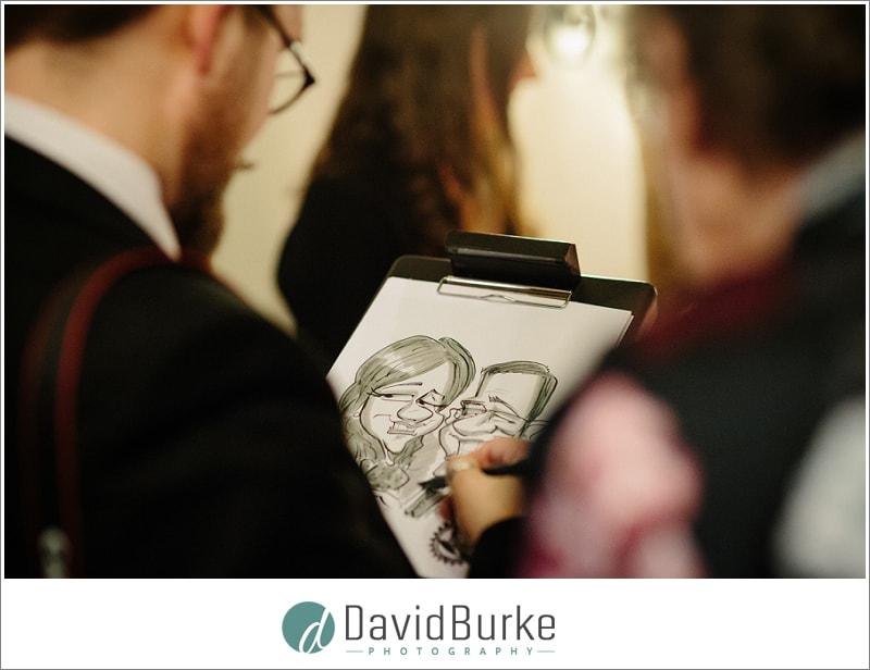 caricaturist at wedding