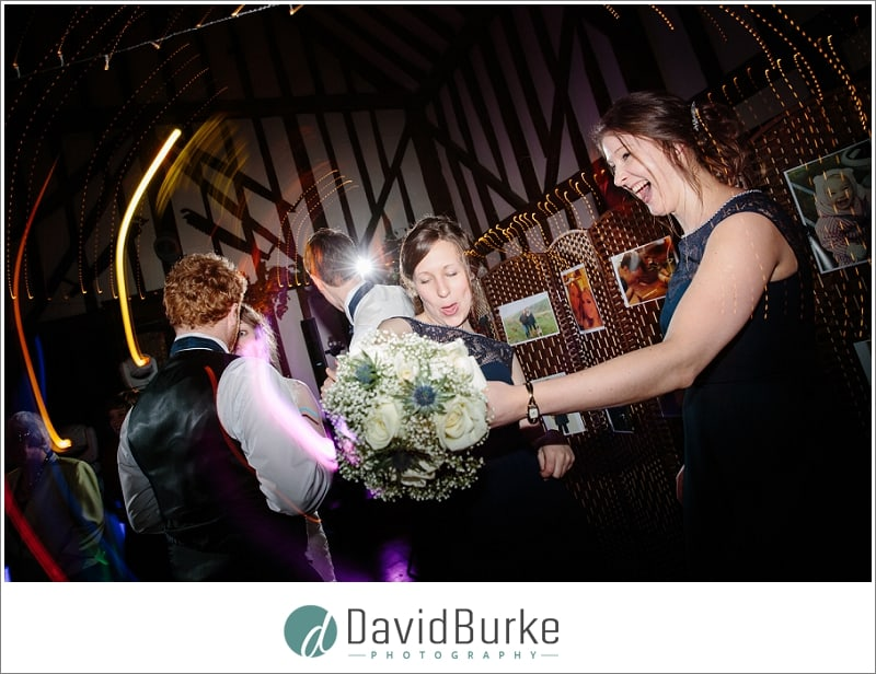 happy bridesmaids dancing plough leigh